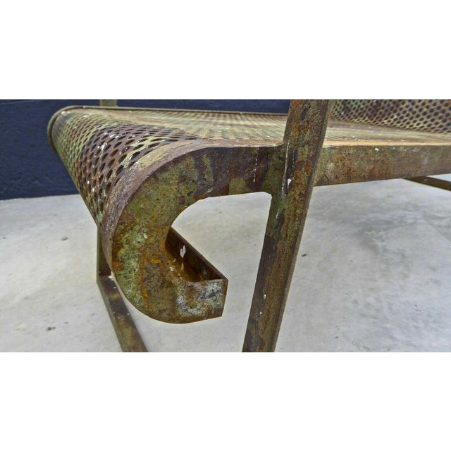 Jean Royere Early Rarest Documented Perforated Iron Lounge Chair For Sale - Image 10 of 12