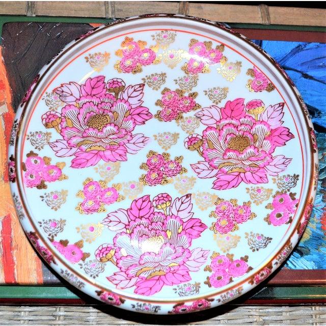 Ceramic Pink and Gold Imari Japanese Porcelain Platter For Sale - Image 7 of 8