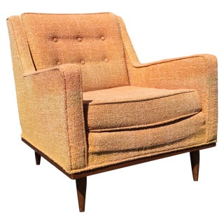 Mid-Century Upholstered Lounge Chair With Walnut
