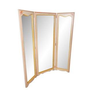 Mid-Century Tri-Fold Mirrored Screen For Sale