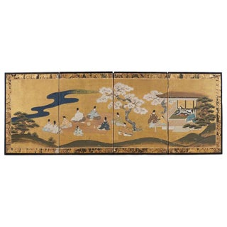 Japanese Four Panel Tales of Genji Painted Screen For Sale