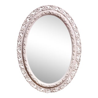 Antique French Rococo Revival Oval Mirror For Sale
