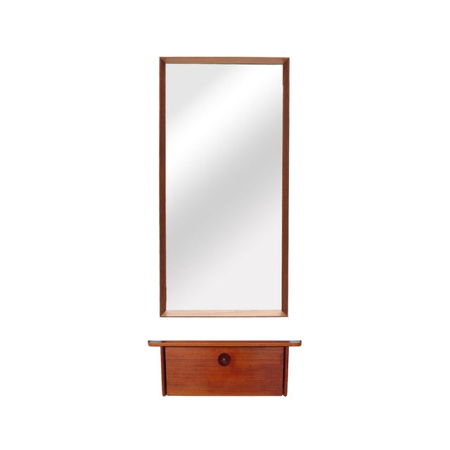 Brown Teak and Wall Shelf and Mirror by Ludvig Pontoppidan For Sale - Image 8 of 8