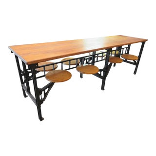 Eight Seat Swing Seat Industrial Factory Table For Sale