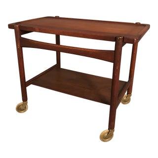 Mid Century Bar Cart Danish Teak Hans Wegner Roiling Cart For Sale