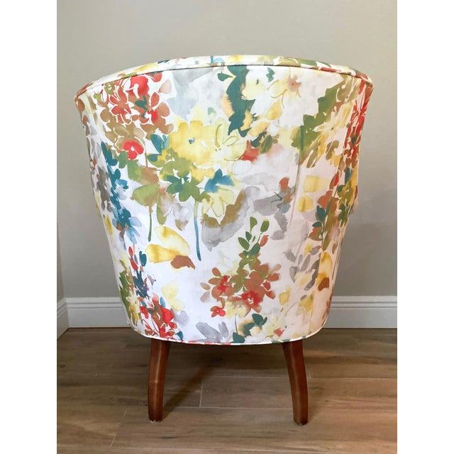 Transitional Modern Arhaus Floral Chair For Sale - Image 3 of 5