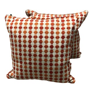 Orange and Tan Pillows - a Pair For Sale