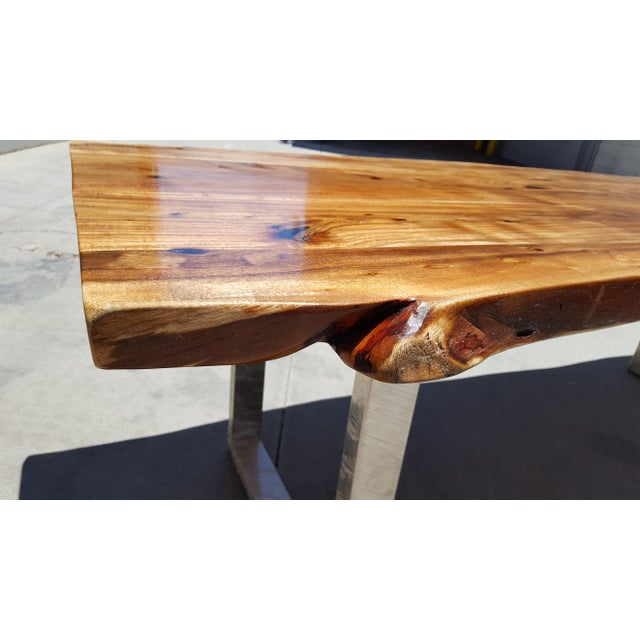 Acacia Wood Live Edge Dining Table - Image 5 of 9