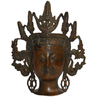 Vintage Thai Bronze Buddha Head From India For Sale