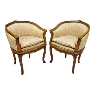 Early 20th Century Antique French Louis XV Style Barrel Back Boudoir Chairs - A Pair For Sale