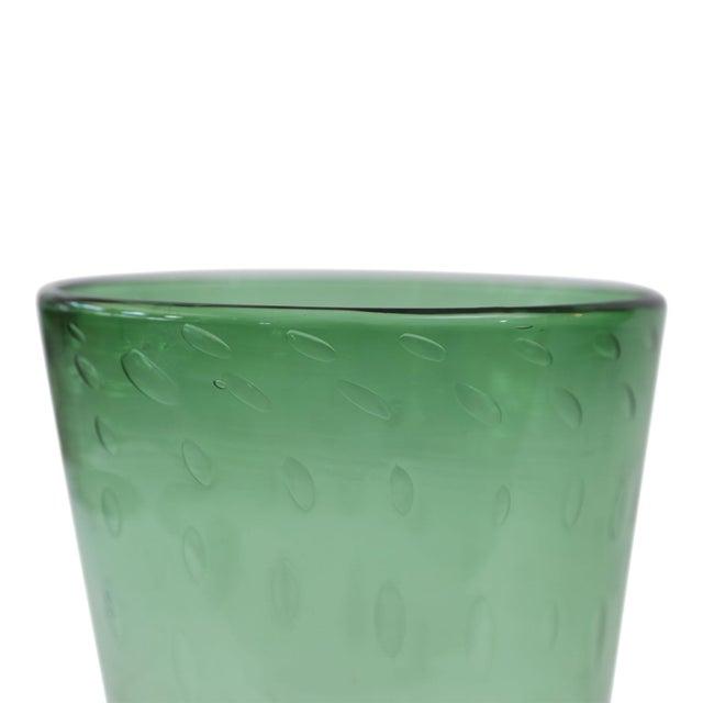 Italian Italian Green Glass Vase For Sale - Image 3 of 7