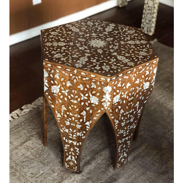 Contemporary Contemporary Syrian Mother of Pearl Inlaid Side Table For Sale - Image 3 of 8