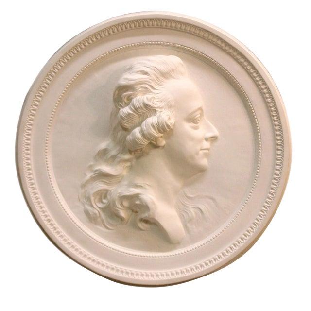 Swedish Portrait Plaster Medallion King Gustav III For Sale