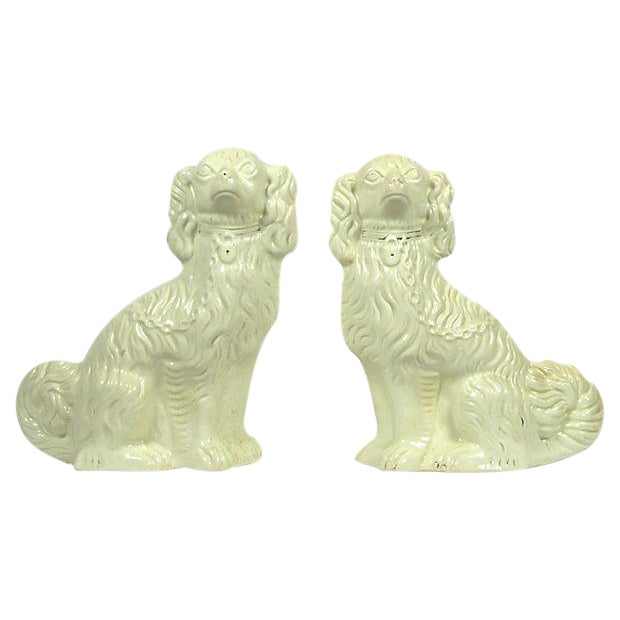 Vintage Staffordshire Mantle Dogs - A Pair For Sale