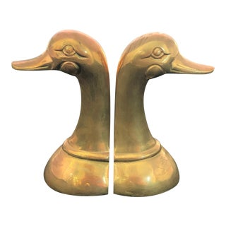 Vintage Polished Cast Brass Duck Book Ends Circa 1950 - a Pair For Sale