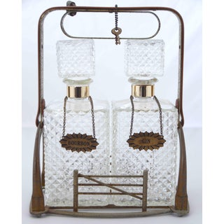 Vintage Bar Bourbon and Gin Glass Bottles Set With Rack, Locker and Keys Preview
