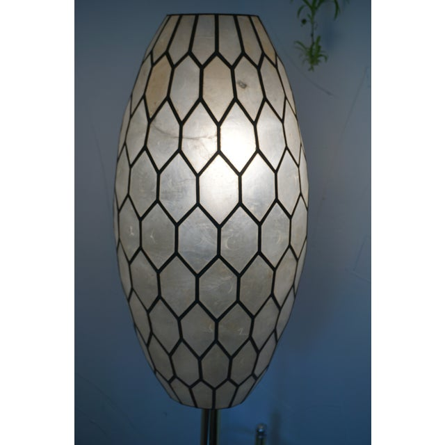 Large Vintage Bohemian Glam Capiz Shell Lampshade   Mid-Century Bullet Shape Lamp Shade   Chic Statement Lighting For Sale - Image 9 of 13