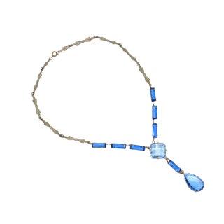Art Deco Czech Blue Crystal Drop Necklace, 1920s For Sale