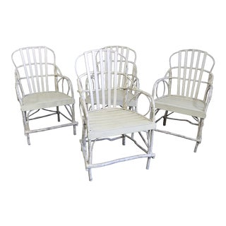 Adirondack Cream Painted Bentwood Twig Chairs - Set of 4 For Sale