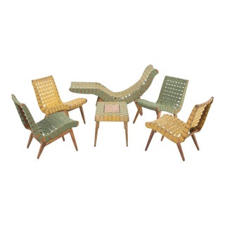 Jens Risom Style Furniture Set With Klaus Grabe Chaise For Sale