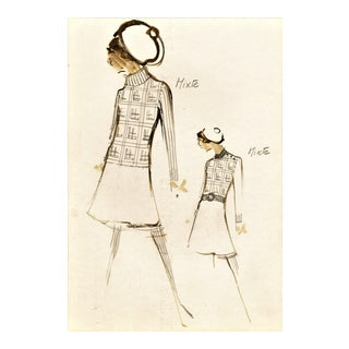 Original Mid-Century Fashion Drawing-House of Balmain