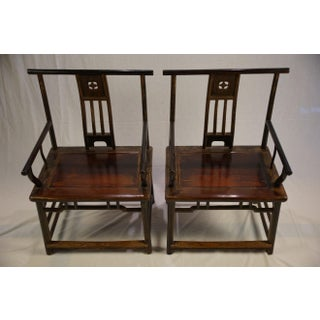 Antique Chinese Jin Dynasty Black Lacquer Armchairs - a Pair Preview