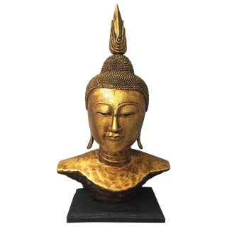 Large Gilded Thai Buddha Bust For Sale