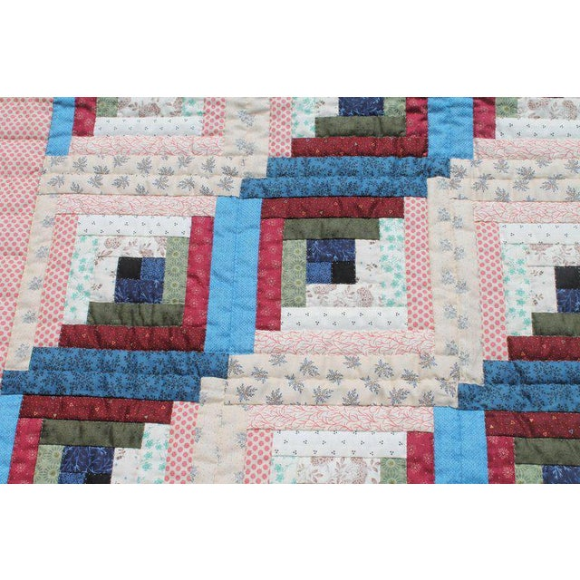 Early 20th Century Log Cabin Crib Quilt From Pennsylvania For Sale - Image 5 of 9