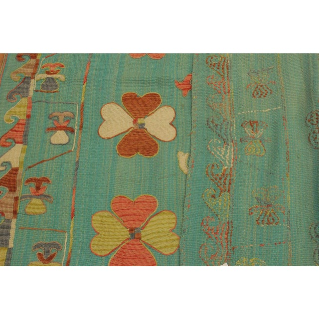 Textile Embroidered Ikat Kilim Contrera Blue Wool Rug- 5′1″ × 7′ For Sale - Image 7 of 8