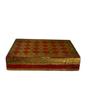 Red and Gold Harlequin Design Florentine Box For Sale