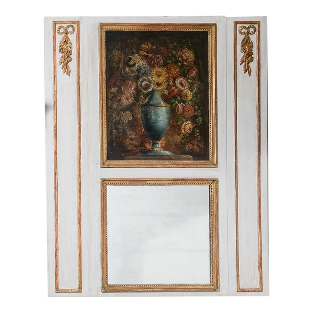 Antique Trumeau Mirror With Painting For Sale
