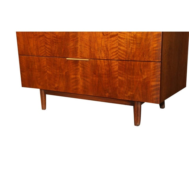 John Stuart Mid Century Highboy Walnut Dresser For Sale - Image 10 of 13