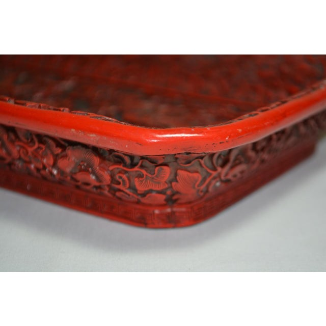 1970s Asian Red Lacquer Cinnabar Tray W/ Carved Dragons For Sale In Austin - Image 6 of 8