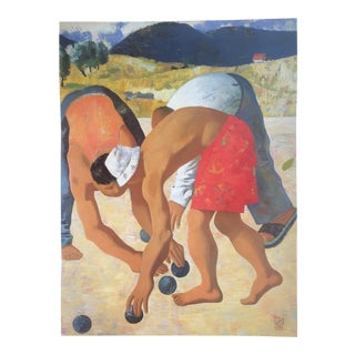 """Original """"Men Playing Petanque in Provence"""" Poster by Gabo For Sale"""
