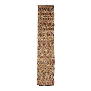 Vintage Embroidered Turkish Kilim Runner Rug For Sale