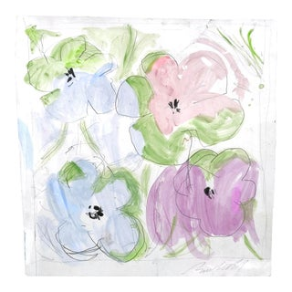 Contemporary Framed Watercolor, Ode to Warhol Flowers For Sale