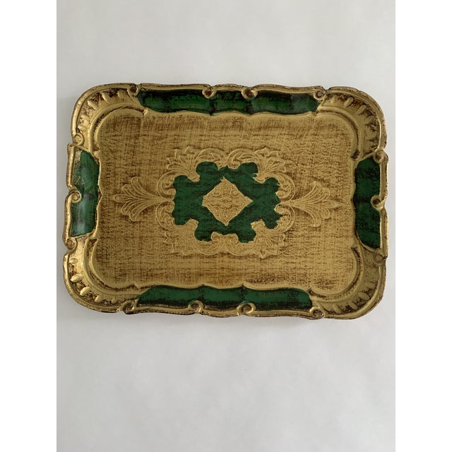 1970s Florentine Green and Gold Tray For Sale In Portland, ME - Image 6 of 6