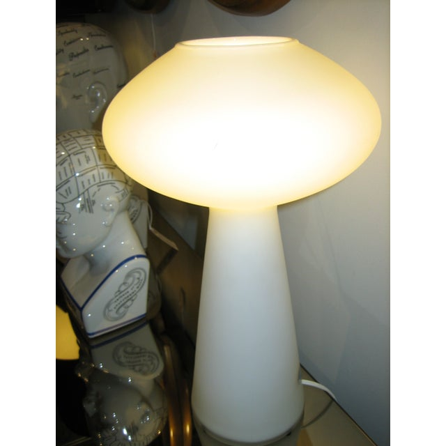 This vintage Blown Glass Lamp designed by Lisa Johanssen-Pape is white hot! Will look amazing sitting atop your mid-...