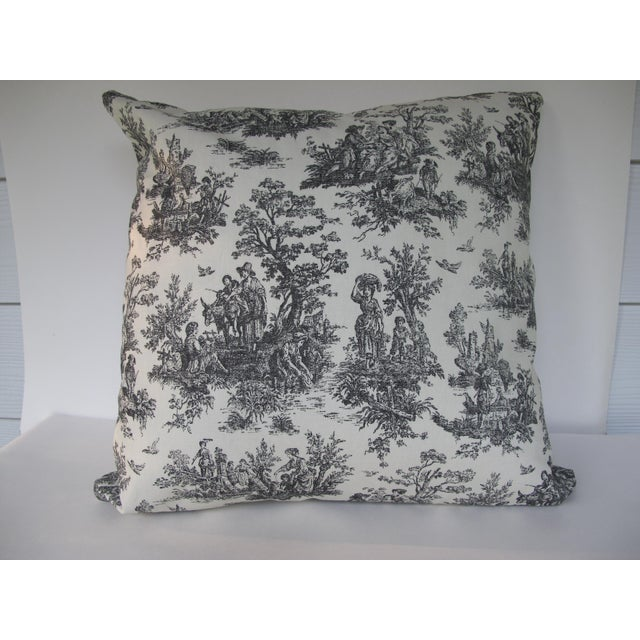 Handmade Classic Black Toile Pillow - 18 X 18 Pillow - Image 2 of 5