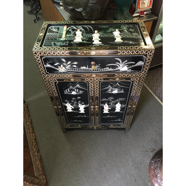 Vintage Asian Black Lacquer Cabinet With Mother Of Pearl For Sale In San Francisco - Image 6 of 10