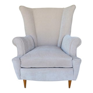 Vintage Italian Upholstered Wing Back Chair For Sale