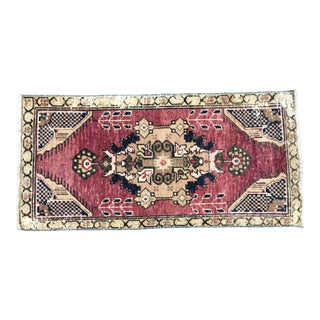 Vintage Traditional Turkish Oushak Handmade Red Small Rug For Sale