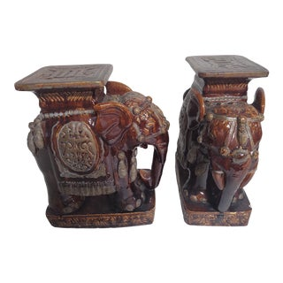 Terracotta Elephant Garden Stools- A Pair For Sale