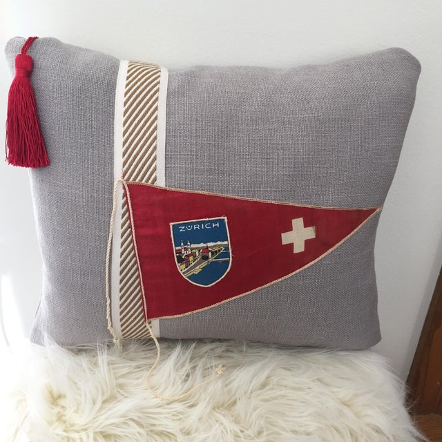 """Hit the Road!"" Vintage Travel Pennant Pillow - Image 2 of 5"