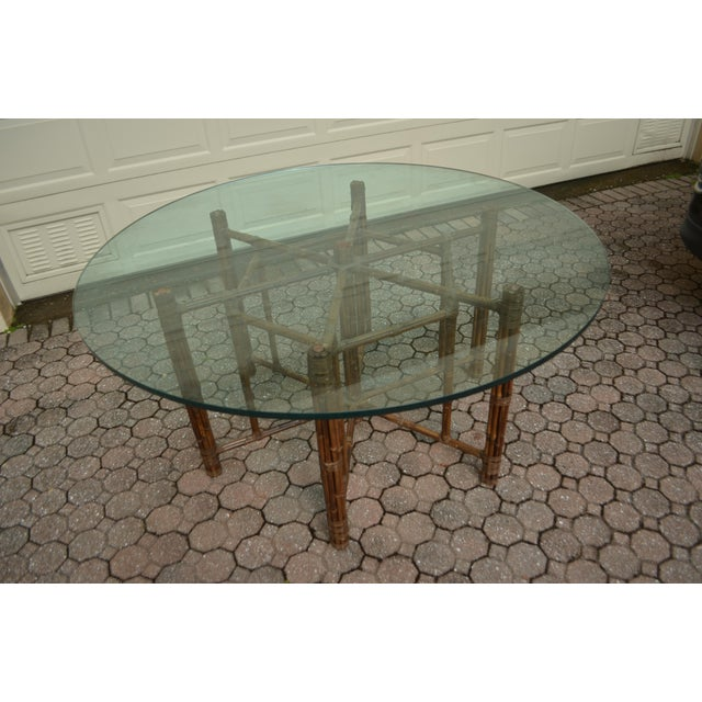 Mid-Century Modern McGuire Round Bamboo Dining Table For Sale - Image 3 of 6