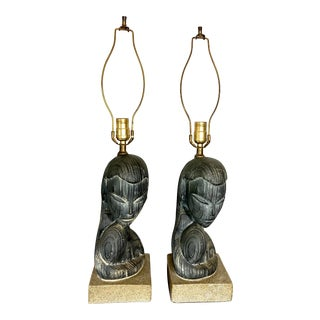 Figural Plasto Lamp Company Cast Plaster Lamps - a Pair For Sale