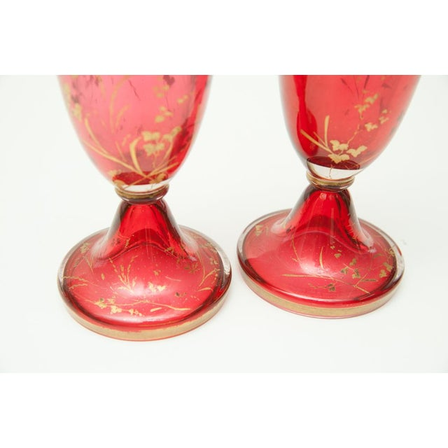 Pair of beautiful central European vases. Heavy pink glass with oval enamel plaques of ladies and accents of gilding. C.1860
