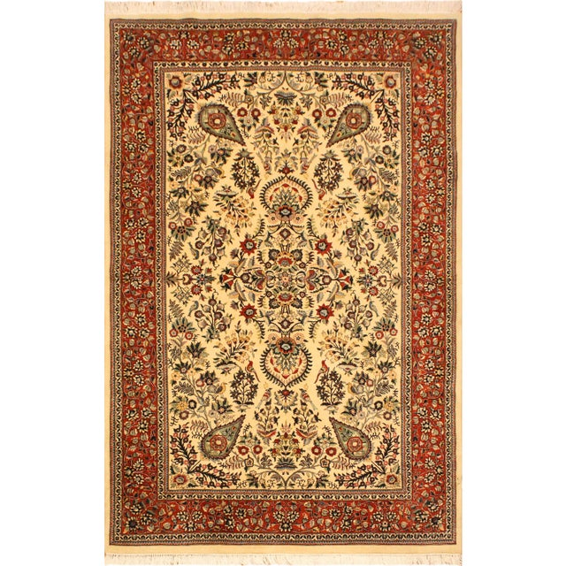 Green Adil Pak-Persian Alexia Ivory/Rust Wool Rug - 5'1 X 8'2 For Sale - Image 8 of 8