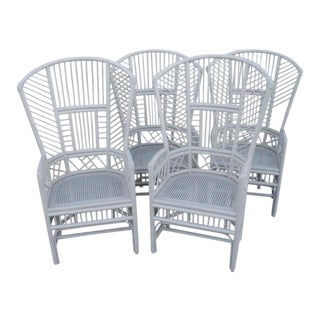Brighton Pavilion Rattan Chinese Chippendale Chairs - Set of 4 For Sale