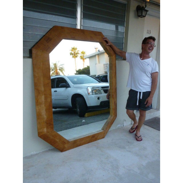 Huge 20th century decorator octagonal mirror shape similar to Karl Springer measuring 68 inches tall x 56 inches wide in...